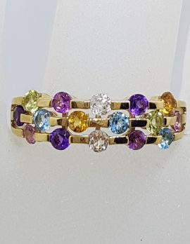 9ct Yellow Gold Multi-Coloured Gemstone Ring – Citrine, Topaz, Peridot, Amethyst , Pink Tourmaline and Clear Quartz