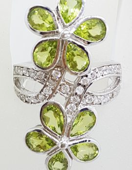Sterling Silver Large Peridot and CZ Flower Ring