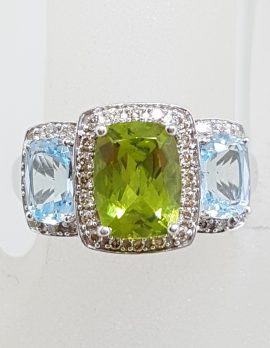 9ct White Gold Topaz, Peridot and Diamond Ring