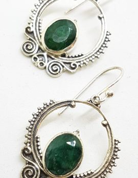 Sterling Silver Emerald Ornate Drop Earrings