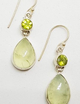 Sterling Silver Prehnite and Peridot Drop Earrings