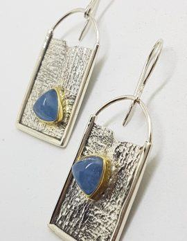 Sterling Silver with Gold Rim Large Rectangular Drop Aquamarine Earrings