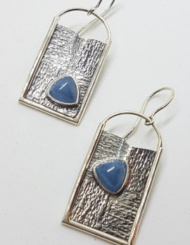 Sterling Silver Large Aquamarine Drop Earrings