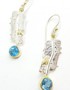 Sterling Silver & Gold Plate Long Blue Topaz Drop Earrings