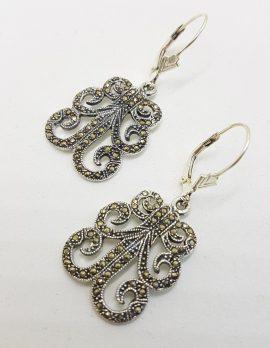 Sterling Silver Ornate Marcasite Large Drop Earrings