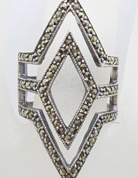 Sterling Silver Marcasite Large Marquis Diamond Shape Ring