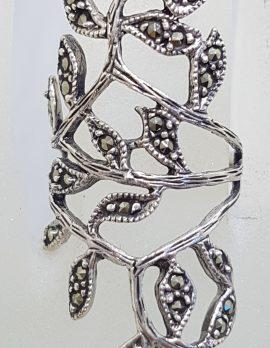 Sterling Silver Marcasite Large / Long Ornate Leaf Design Ring