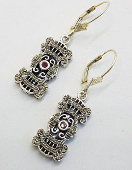 Sterling Silver Marcasite, Onyx and Garnet Ornate Rectangular Drop Earrings
