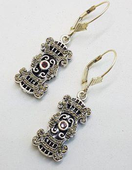 Sterling Silver Marcasite, Onyx and Garnet Ornate Rectangular Drop Earrings