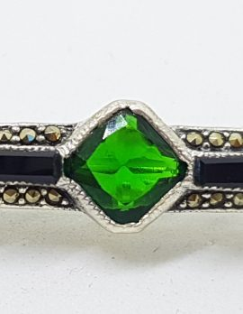 Sterling Silver Marcasite, Onyx, Cubic Zirconia and Green Art Deco Style Bar Brooch