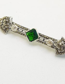 Sterling Silver Marcasite, Cubic Zirconia and Green Art Deco Style Bar Brooch
