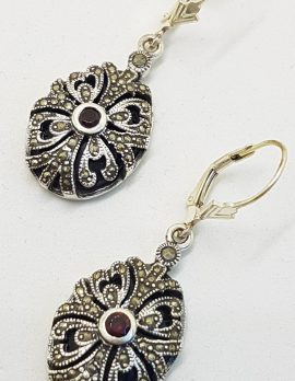 Sterling Silver Marcasite, Onyx and Garnet Ornate Oval Drop Earrings