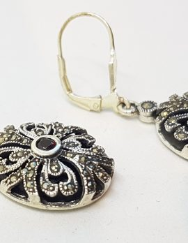 Sterling Silver Marcasite, Onyx and Garnet Ornate Oval Drop Earrings