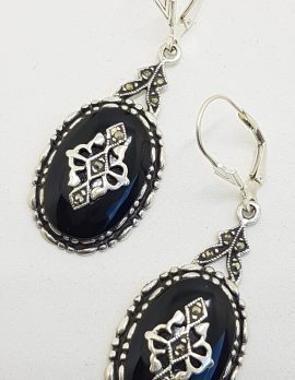 Sterling Silver Marcasite & Onyx Large Oval Drop Earrings