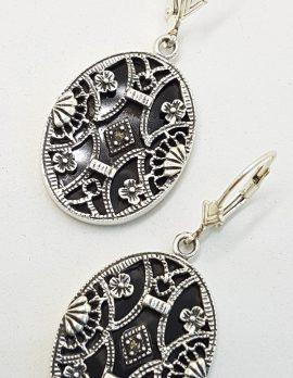 Sterling Silver Marcasite & Onyx Large Oval Ornate Drop Earrings