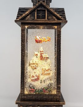 Christmas Glitter Lantern – Santa / Father Christmas in a Sleigh above Houses / Town – Christmas Ornament Design #8