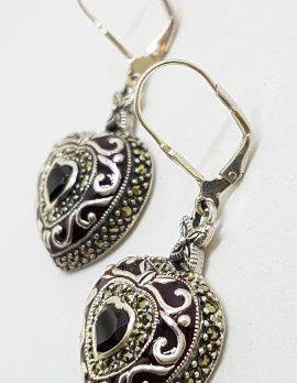 Sterling Silver Marcasite, Enamel and Garnet Ornate Large Heart Drop Earrings