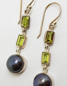 Sterling Silver Peridot and Black Pearl Long Drop Earrings
