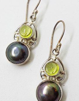 Sterling Silver Peridot and Black Pearl Ornate Drop Earrings