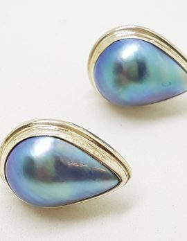 Sterling Silver Blue Mabe Pearl Pear Shape / Teardrop Stud Earrings