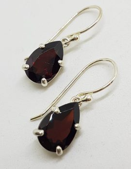 Sterling Silver Teardrop / Pair Shape Garnet Drop Earrings