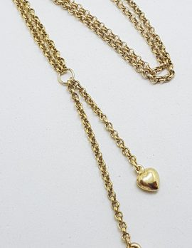 9ct Yellow Gold Silver Filled Heart Drop Necklace