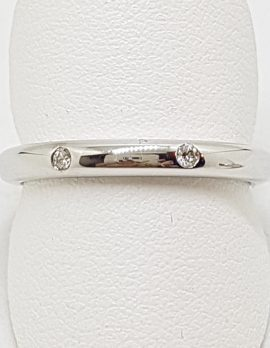 18ct White Gold Two Diamond Wedding Band / Ring