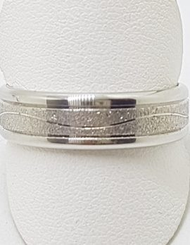 10ct White Gold Matt and Shiny Wedding Band / Ring with Curved Design - Gents / Ladies