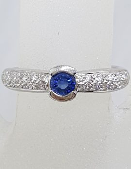 18ct White Gold Natural Sapphire with Pave Set Diamonds Ring