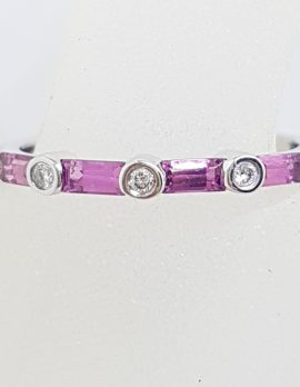18ct White Gold Pink Tourmaline & Diamond Eternity / Stackable / Band Ring