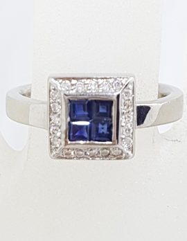 18ct White Gold Natural Sapphire Surrounded by Diamonds Square Cluster Ring
