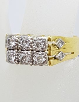 18ct Yellow Gold 10 Diamond Ornate Rectangular Cluster Ring - Antique / Vintage