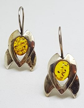 Sterling Silver Natural Baltic Amber Rocket Shape Drop Earrings