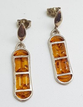 Sterling Silver Natural Baltic Amber Long Cluster Drop Earrings