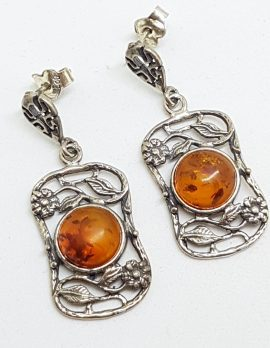 Sterling Silver Natural Baltic Amber Round in Large Ornate / Filigree Rectangular Drop Earrings