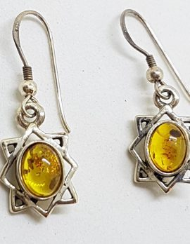 Sterling Silver Natural Amber Star Drop Earrings