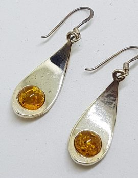 Sterling Silver Natural Baltic Amber Round in Long Drop Earrings