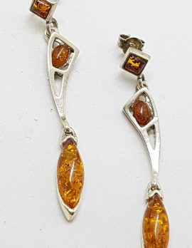 Sterling Silver Natural Baltic Amber Very Long Stud / Drop Earrings