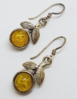Sterling Silver Natural Baltic Amber Leaf Design Drop Earrings