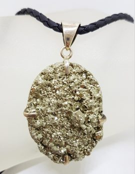 Sterling Silver Large Oval Pyrite Pendant on Silver and Black Chain