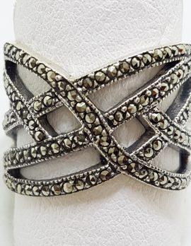 Sterling Silver Wide Marcasite Plait Design Ring