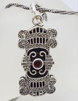 Sterling Silver Large Ornate Onyx, Marcasite and Garnet Art Deco Style Pendant on Silver Chain