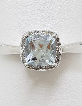 10ct White Gold Aquamarine and Diamond Square Ring
