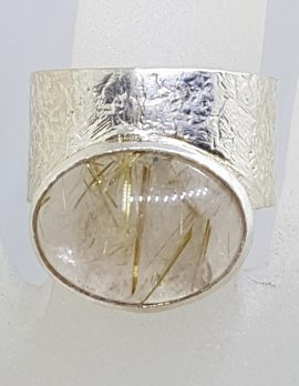 Sterling Silver Wide Oval Rutilated Quartz Ring