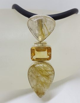 Sterling Silver Large Rutilated Quartz and Citrine Pendant on Black Neoprene Chain