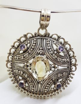 Sterling Silver Filigree / Ornate Round Citrine and Amethyst Pendant on Choker