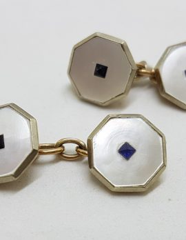 9ct Yellow Gold Octagonal Shape Mother of Pearl Blue and Black Stone Cufflinks - Vintage / Antique