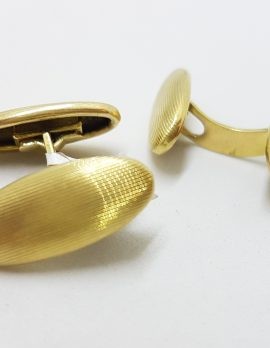 14ct Yellow Gold Oval Cufflinks - Vintage / Antique