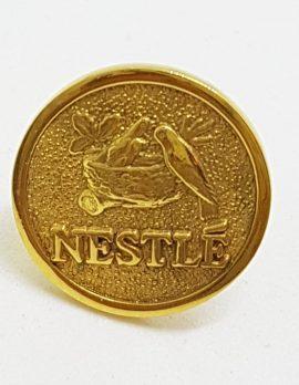 18ct Yellow Gold Nestle Stick Pin Brooch - Birds in Nest Motif - Tie Pin