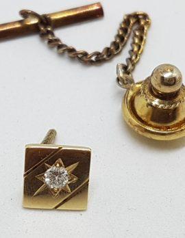 9ct Yellow Gold Diamond Stick Pin / Brooch / Tie Pin